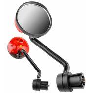 Зеркало заднего вида (комплект 2 шт.) с фонариком, мигалкой, крепление в руль, JY-5-2, блистер (УТ00020791)