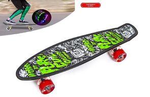 """Скейтборд (пенниборд) PNB 22"""" Print """"Pure Evil Gallery"""", LED светящиеся колеса, подвеска - Alu, ABEC-7 (черный/зеленый) УТ00021583"""