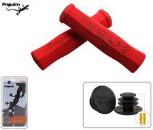 Рукоятки руля (грипсы, комплект) силикон/неопрен PROPALM для самоката/велосипеда с заглушками, 130 мм (красный, HY-F001RD)