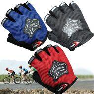 Велоперчатки KNIGHTOOD, кор.пальцы, биэластичные, лайкра, антискользящие (красный/черный, P-872)