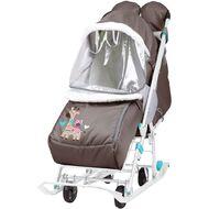 Санки-коляска детские Ника Наши Детки 2 (с жирафом/шоколадный)