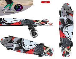 """Скейтборд (пенниборд) PNB 22"""" Print """"New Vision"""", LED светящиеся колеса, подвеска - Alu, ABEC-7 (черный/красный) УТ00021587"""