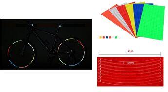 Наклейки световозвращающие на обод (к-кт на 2 колеса), 210х9,0 мм (красный, УТ00019008)