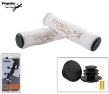 Рукоятки руля (грипсы, комплект) силикон/неопрен PROPALM для самоката/велосипеда с заглушками, 130 мм (белый/серый, HY-F001WT)