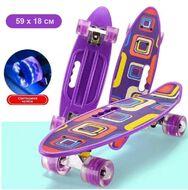 "Скейтборд (пенниборд) PWS 23"" Print ""Purple Geometry"", светящиеся колеса, подвеска - Alu, ABEC-7 (фиолетовый, УТ00019212)"