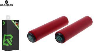 """Рукоятки руля (грипсы, комплект) силиконовые """"ROCKBROS"""", для самоката/велосипеда, с барендами, 130 мм (красный, УТ00019065)"""