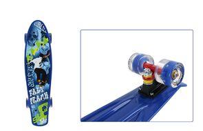 """Скейтборд (пенниборд) PNB 22"""" Print """"Fast Track"""", светящиеся колеса, подвеска - Alu, ABEC-7 (синий, PNB-07-208)"""