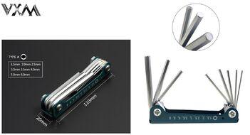 Набор инструментов VXM складной, 8 предметов, шестигранники 1.5/2/2.5/3/3.5/4/5/6 мм, металлич. держатель, LB-048M