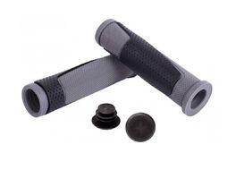 Рукоятки руля (грипсы, комплект), 130мм, резиновые, 2-х компон., с пластик. заглушками (черный/серый)