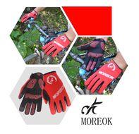 """Велоперчатки MOREOK, длинный палец, силиконовые вставки, биэластичные, лайкра, сенсор, на блистере, размер """"M"""", красный (FWDMOREOKRD-M)"""
