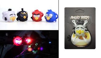 Фонарь детский, Angry Birds, силикон, 2 LED, 3 реж., блистер (белый)