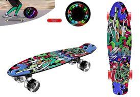 """Скейтборд (пенниборд) PNB 22"""" Print """"Hip Hop Graffity"""", LED светящиеся колеса, подвеска - Alu, ABEC-7 (черный/зеленый/красный) УТ00021586"""
