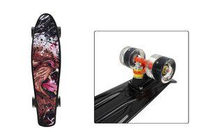 """Скейтборд (пенниборд) PNB 22"""" Print """"Lion on Black"""", светящиеся колеса, подвеска - Alu, ABEC-7 (черный, PNB-07-209)"""