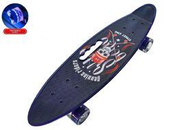 """Скейтборд (пенниборд) PWS 23"""" Print """"Street King"""", с ручкой, LED светящиеся колеса, подвеска - Alu, ABEC-7 (синий/черный) УТ00021575"""