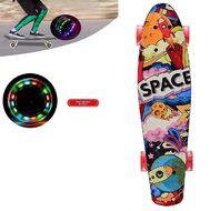 """Скейтборд (пенниборд) PNB 22"""" Print """"Space"""", LED светящиеся колеса, подвеска - Alu, ABEC-7 (красный/черный) УТ00021585"""