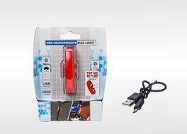 Фонарь задний Bike Light аккумуляторный, USB кабель, LED, 2 режима работы, влагозащищенный, блистер (УТ00018617)