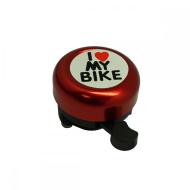 """Звонок велосипедный NUVO,  """"I Love My Bike"""", алюмин./пластик, D55 мм (красный)"""