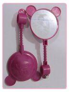 Зеркало заднего вида, детское, Мишка, гибкая стойка, пластик, KIDS, цвет - розовый
