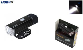 Фара передняя алюминиевая, LED 180 lumens+, USB зарядка с аккумулятором 3,7V/800 mAh, 4 режима работы, блистер,  EOS-100, Machfally (УТ00021657)
