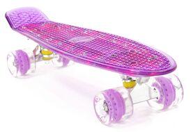 """Скейтборд (Пенниборд) PWS Flash 22"""" (колеса с подсветкой), Alu, ABEC-7 (фиолетовый)"""