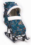Санки-коляска детские Ника Детям 7-5 (цветочный темный)