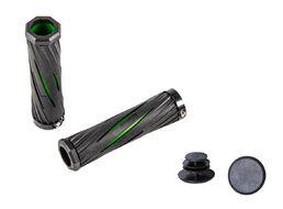 Рукоятки руля (грипсы, комплект) 130 мм OneSideLock с барендами, инд. упак. (черный/зеленый, GW-08019-147)