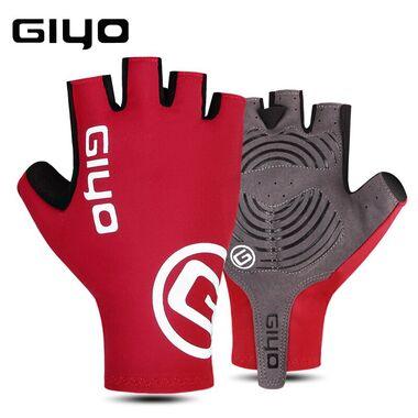 """Велоперчатки GIYO, короткий палец, гелевые вставки, биэластичные, силикон, лайкра, размер """"M"""" (красный) #0"""