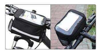 """Велосумка """"B-Soul"""", крепление на руль, с отделением для смартфона, (190х180х130мм), влагозащита, полиэстер (черный, УТ00019516)"""