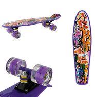 "Скейтборд (Пенниборд) RGX 22"" Print Graffiti (светящиеся колеса), подвеска - Alu, ABEC-7 (фиолетовый)"