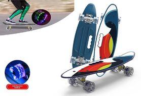 """Скейтборд (пенниборд) PWS 23"""" Print """"Multicolor"""", с ручкой, LED светящиеся колеса, подвеска - Alu, ABEC-7 (синий/белый) УТ00021573"""