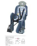 Кресло детское, быстросъемное, YC-800, крепление заднее, дугой на раму, нагрузка до 22 кг, с подголовником, регулировка высоты для ног, Тайвань (YC-800)