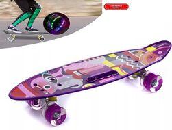 """Скейтборд (пенниборд) PWS 23"""" Print """"Picasso"""", с ручкой, LED светящиеся колеса, подвеска - Alu, ABEC-7 (фиолетовый) УТ00021574"""