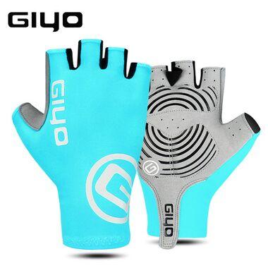 """Велоперчатки GIYO, короткий палец, гелевые вставки, биэластичные, силикон, лайкра, размер """"S"""" (бирюзовый) #0"""