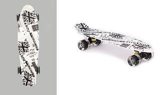 "Скейтборд (пенниборд) Black Aqua 22"", Alu, ABEC-7, колеса PU 60x45, S0123 PRINT (белый/черный, УТ00020934)"