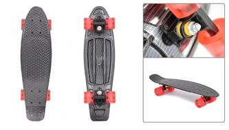 """Скейтборд (пенниборд) Black Aqua 24"""", Alu, ABEC-7, светящиеся LED колеса PU 60 мм, S00171 PRINT (графит, УТ00020937)"""