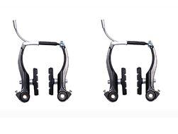 Тормозные рычаги, V-brake, Алюминиевые, S.Shine, комплект 2 шт., 110мм, с колодками 70 мм. (черный)