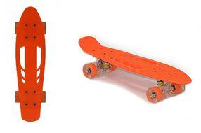 """Скейтборд (пенниборд) Black Aqua 24"""", Alu, ABEC-7, светящиеся LED колеса PU 60 мм, S00238 (оранжевый, УТ00020935)"""