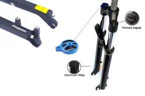 """Вилка 27,5"""" амортизационная, пружинно-масляная, """"EASING"""" GD-ES451-HLO, алюминиевая, ход 100 мм, шток 220 мм, Ø 28.6 мм, Disc Brake, с функцией гидравлической блокировки HLO (Lock out), предварит. сжатие, черный (NN005575)"""