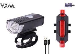 Фонари, комплект (LED передн.+задн.) RPL-2255/DC-918, 3/5 LED, USB кабель, с аккум. 480 mAh, 50 Lumens, 3,7V, VXM (УТ00021405)