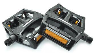 """Педали платформенные (комплект 2 шт.) 9/16"""", 115x100 мм, алюминиевые, HF-862С, New Vision (черный, УТ00021492)"""