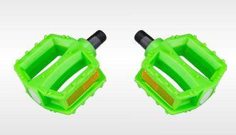 Комплект педалей, KIDS, пластик, с отражателями, 95х82, ось 1/2 (12мм), зеленый