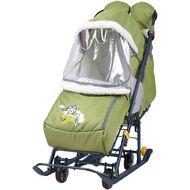 Санки-коляска детские Ника Наши Детки 2 (с летчиком оливковый)