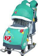 Санки-коляска детские Ника Детям 7-2 (с котенком изумрудный)