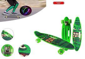 """Скейтборд (пенниборд) PWS 23"""" Print """"Monsters"""", с ручкой, LED светящиеся колеса, подвеска - Alu, ABEC-7 (зеленый) УТ00021579"""