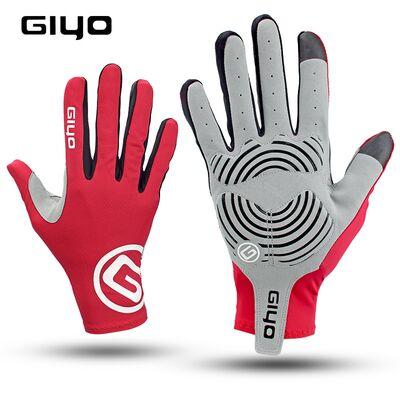 """Велоперчатки GIYO, длинный палец, гелевые вставки, биэластичные, силикон, лайкра, размер """"L"""" (красный) #0"""