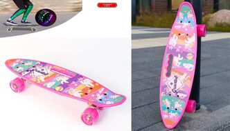 "Скейтборд (пенниборд) PWS 23"" Print ""Gravital Unicorns"", с ручкой, LED светящиеся колеса, подвеска - Alu, ABEC-7 (розовый) УТ00021580"