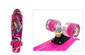 """Скейтборд (пенниборд) PNB 22"""" Print """"Fire Bird"""", светящиеся колеса, подвеска - Alu, ABEC-7 (розовый, PNB-07-205)"""