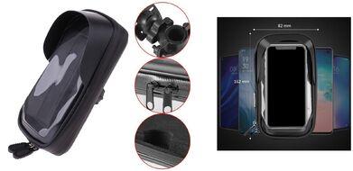 Держатель для смартфона, кейс закрытый с козырьком, 82х162 мм, на руль, влагозащищенный, 360° (IP55-F2-bike) NN005538