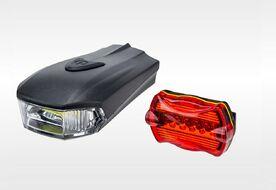 Фонари, комплект (LED перед.+зад.), SH-A08, 8 диодов, 3 режима раб.