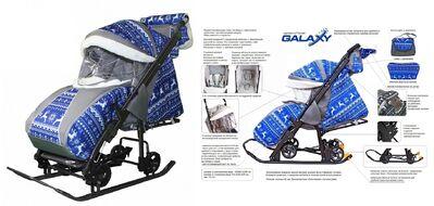 Санки-коляска Ggalaxy kids 1 (Олени на синем) 1/1 Зимняя ночь